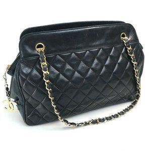 Authentic Chanel Lambskin charm black tote